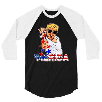 Funny Trump Salt Bae 4th Of July 3/4 Sleeve Shirt Designed By Star Store