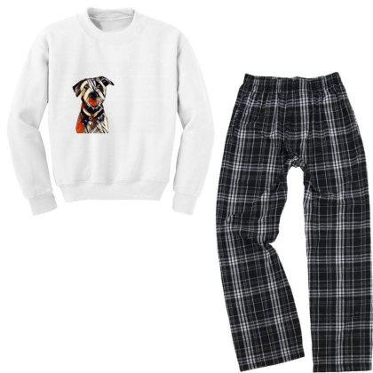 Happy And Smiling Dog In Fron Youth Sweatshirt Pajama Set Designed By Kemnabi
