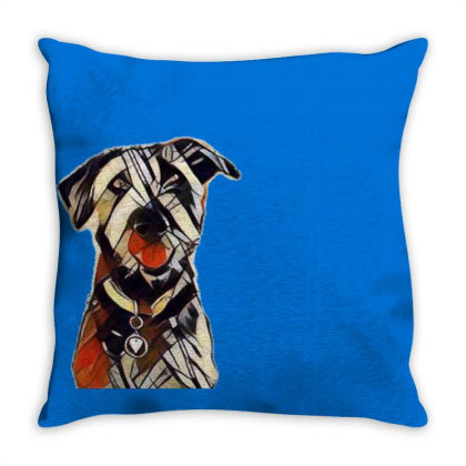 Happy And Smiling Dog In Fron Throw Pillow Designed By Kemnabi