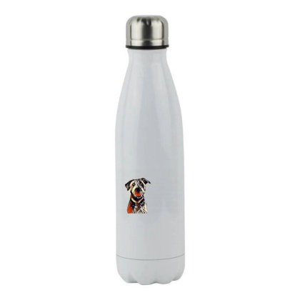 Happy And Smiling Dog In Fron Stainless Steel Water Bottle Designed By Kemnabi