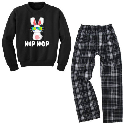 Funny Hip Hop Bunny Youth Sweatshirt Pajama Set Designed By Star Store