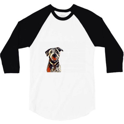 Happy And Smiling Dog In Fron 3/4 Sleeve Shirt Designed By Kemnabi