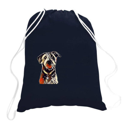 Happy And Smiling Dog In Fron Drawstring Bags Designed By Kemnabi