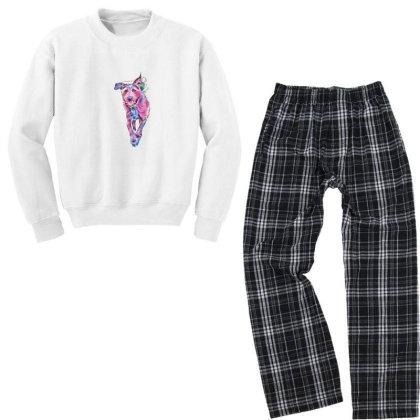 Happy Terrier Dog Running In Youth Sweatshirt Pajama Set Designed By Kemnabi