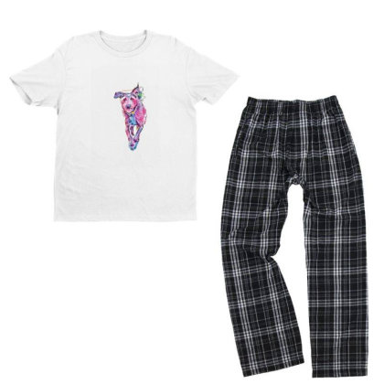 Happy Terrier Dog Running In Youth T-shirt Pajama Set Designed By Kemnabi