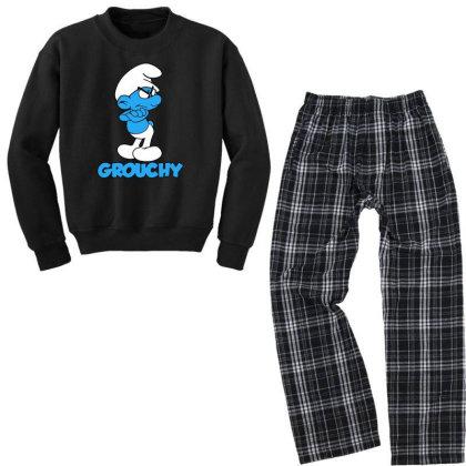 Funny Grumpy Smurf Youth Sweatshirt Pajama Set Designed By Star Store
