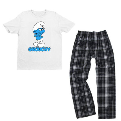Funny Grumpy Smurf Youth T-shirt Pajama Set Designed By Star Store