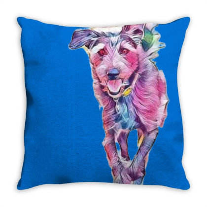 Happy Terrier Dog Running In Throw Pillow Designed By Kemnabi