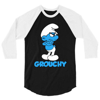 Funny Grumpy Smurf 3/4 Sleeve Shirt Designed By Star Store