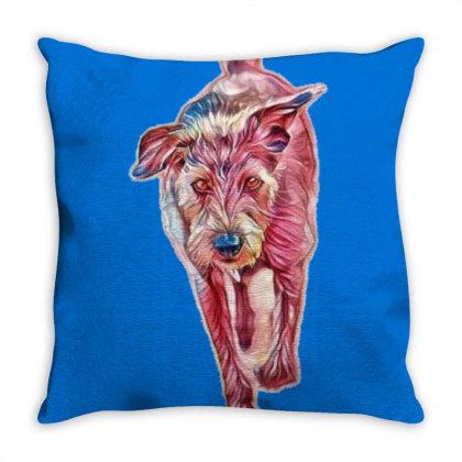 Medium Size Terrier Dog Walki Throw Pillow Designed By Kemnabi