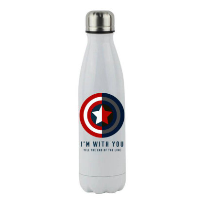 Funny Capatain Shield Stainless Steel Water Bottle Designed By Star Store