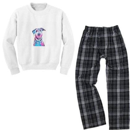 Happy And Smiling Dog Sitting Youth Sweatshirt Pajama Set Designed By Kemnabi