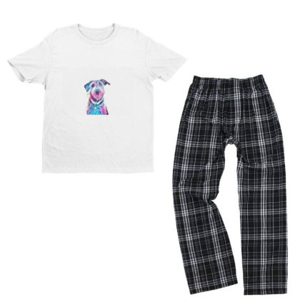 Happy And Smiling Dog Sitting Youth T-shirt Pajama Set Designed By Kemnabi