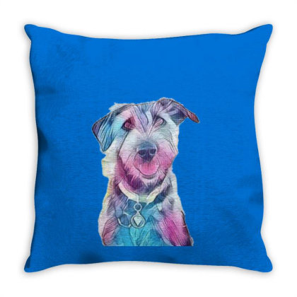 Happy And Smiling Dog Sitting Throw Pillow Designed By Kemnabi