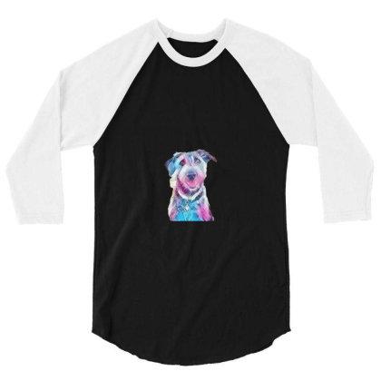 Happy And Smiling Dog Sitting 3/4 Sleeve Shirt Designed By Kemnabi