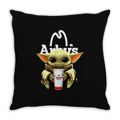 Funny Baby Yoda Hug Arbys Throw Pillow Designed By Star Store