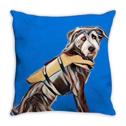 Medium Size Terrier Crossbree Throw Pillow Designed By Kemnabi