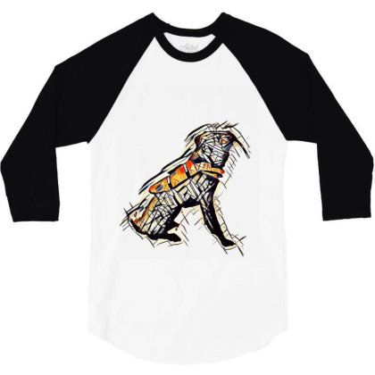 Obedient Large Mixed Breed Do 3/4 Sleeve Shirt Designed By Kemnabi