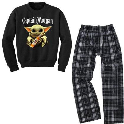 Funny Baby Yoda Drink Captain Morgan Youth Sweatshirt Pajama Set Designed By Star Store