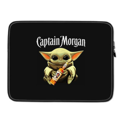 Funny Baby Yoda Drink Captain Morgan Laptop Sleeve Designed By Star Store