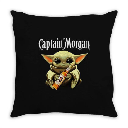 Funny Baby Yoda Drink Captain Morgan Throw Pillow Designed By Star Store