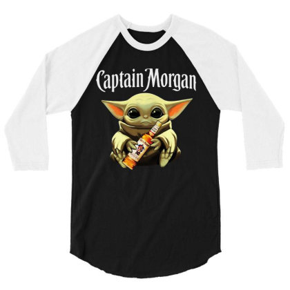 Funny Baby Yoda Drink Captain Morgan 3/4 Sleeve Shirt Designed By Star Store