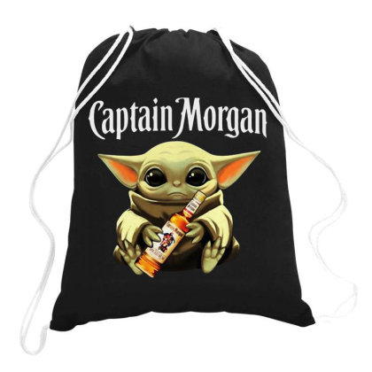 Funny Baby Yoda Drink Captain Morgan Drawstring Bags Designed By Star Store