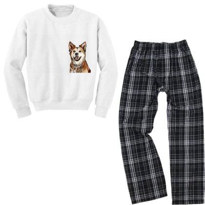 Happy Mixed Breed Dog At A Pa Youth Sweatshirt Pajama Set Designed By Kemnabi