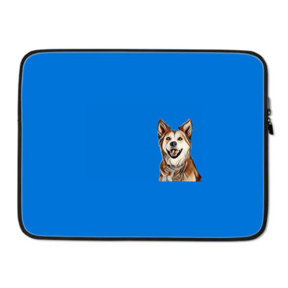 Happy Mixed Breed Dog At A Pa Laptop Sleeve Designed By Kemnabi