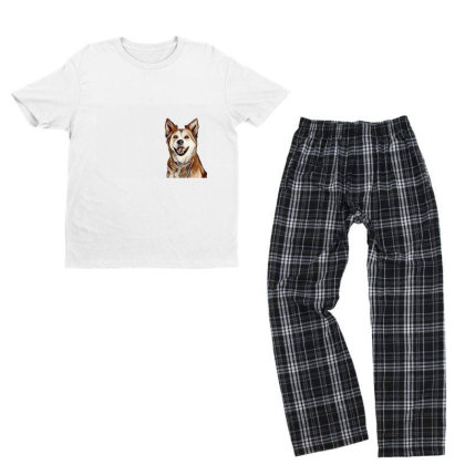Happy Mixed Breed Dog At A Pa Youth T-shirt Pajama Set Designed By Kemnabi