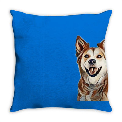 Happy Mixed Breed Dog At A Pa Throw Pillow Designed By Kemnabi