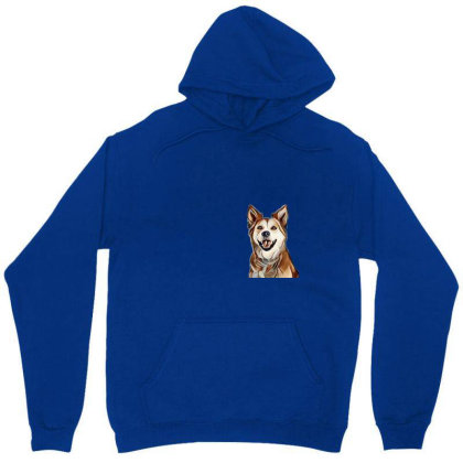 Happy Mixed Breed Dog At A Pa Unisex Hoodie Designed By Kemnabi