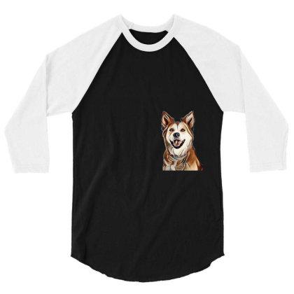 Happy Mixed Breed Dog At A Pa 3/4 Sleeve Shirt Designed By Kemnabi