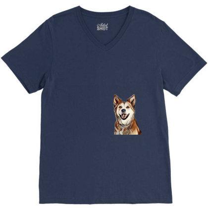 Happy Mixed Breed Dog At A Pa V-neck Tee Designed By Kemnabi