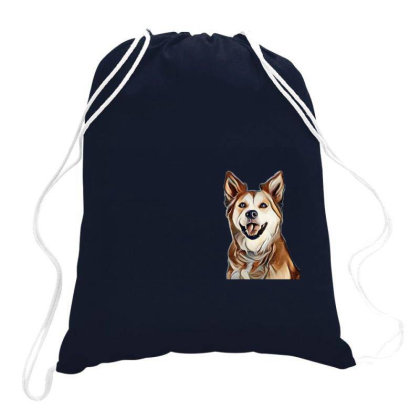 Happy Mixed Breed Dog At A Pa Drawstring Bags Designed By Kemnabi