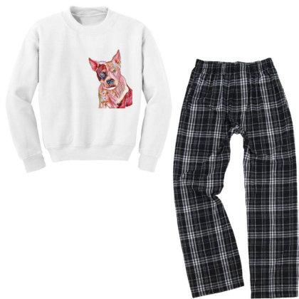 Pit Bull Guard Dog Sitting In Youth Sweatshirt Pajama Set Designed By Kemnabi