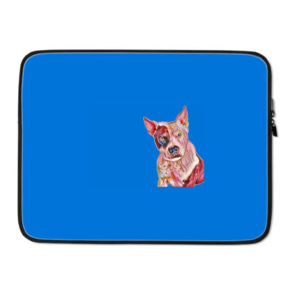 Pit Bull Guard Dog Sitting In Laptop Sleeve Designed By Kemnabi