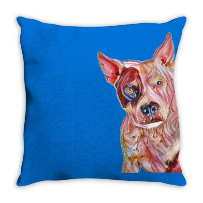 Pit Bull Guard Dog Sitting In Throw Pillow Designed By Kemnabi