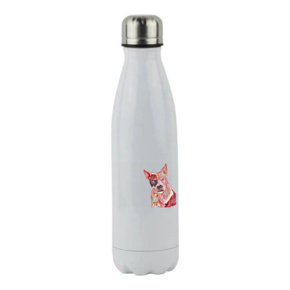 Pit Bull Guard Dog Sitting In Stainless Steel Water Bottle Designed By Kemnabi