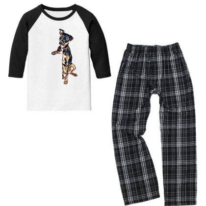 Crossbreed Dog With Sad Expre Youth 3/4 Sleeve Pajama Set Designed By Kemnabi