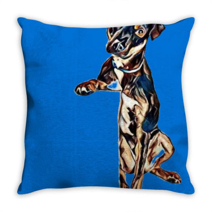 Crossbreed Dog With Sad Expre Throw Pillow Designed By Kemnabi
