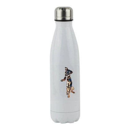 Crossbreed Dog With Sad Expre Stainless Steel Water Bottle Designed By Kemnabi