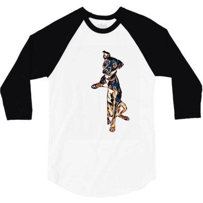 Crossbreed Dog With Sad Expre 3/4 Sleeve Shirt Designed By Kemnabi