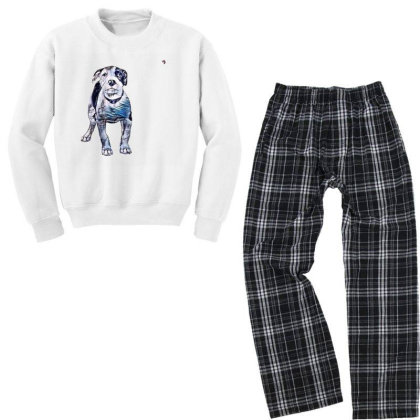 Cute Pit Bull Puppy With Guil Youth Sweatshirt Pajama Set Designed By Kemnabi