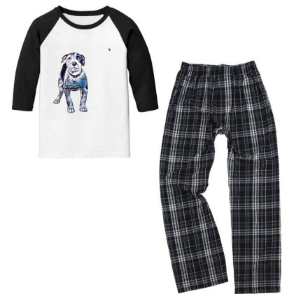 Cute Pit Bull Puppy With Guil Youth 3/4 Sleeve Pajama Set Designed By Kemnabi