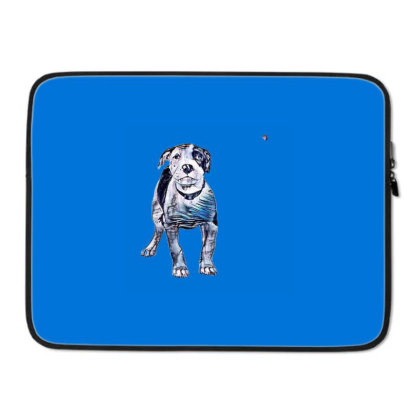 Cute Pit Bull Puppy With Guil Laptop Sleeve Designed By Kemnabi