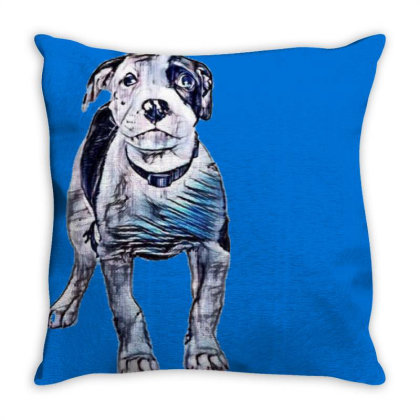 Cute Pit Bull Puppy With Guil Throw Pillow Designed By Kemnabi