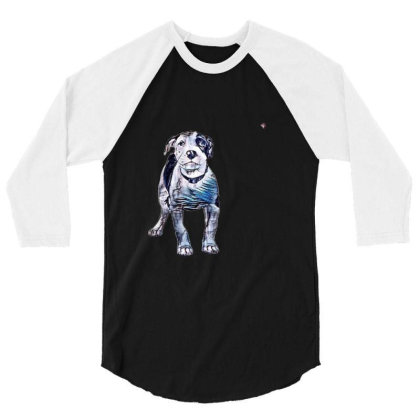 Cute Pit Bull Puppy With Guil 3/4 Sleeve Shirt Designed By Kemnabi