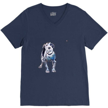 Cute Pit Bull Puppy With Guil V-neck Tee Designed By Kemnabi
