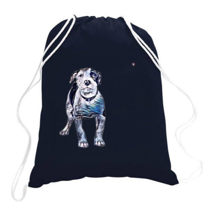 Cute Pit Bull Puppy With Guil Drawstring Bags Designed By Kemnabi